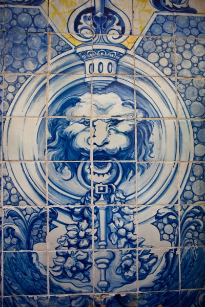 head of lion azulejo - lisbon - portugal