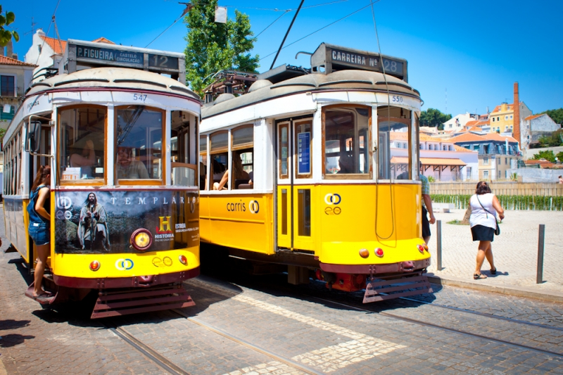Two yellow tramway - Lisbon - portugal