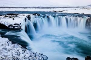landscape Godafoss in winter - Iceland