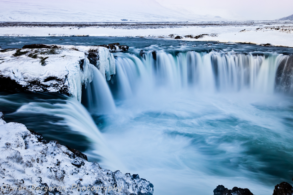 landscape Godafoss in winter - Iceland