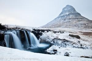 landscape - Kirkjufellfoss in winter - kirkjufell - iceland