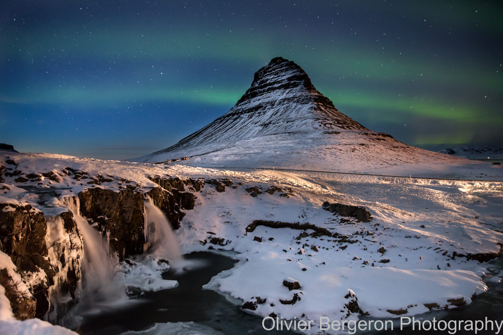 Aurora Borealis on Kirkjufell form kirkjufellfoss - Iceland