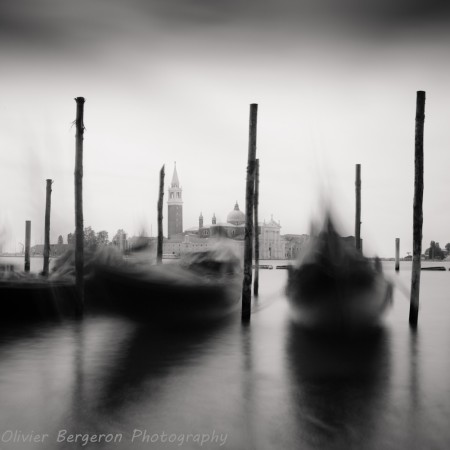 Two gondola - San Marco - Venice , long exposure, black and white landscape photography
