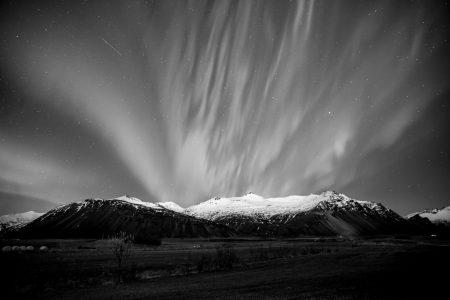 northern lights - hofn -iceland - mountain landscape